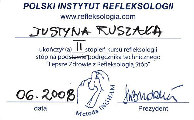 II stopień kursu refleksologii