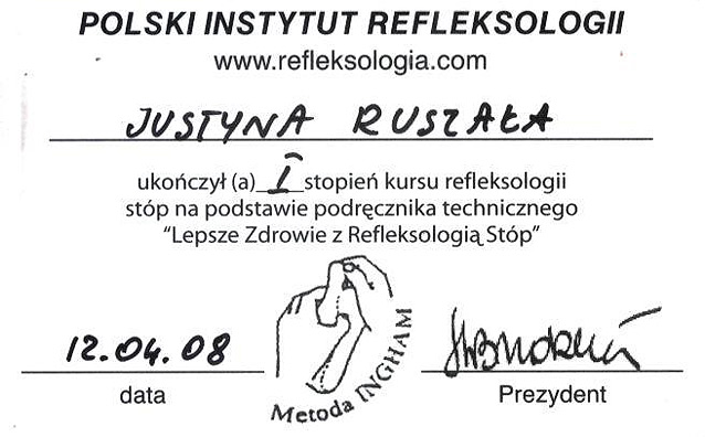 I stopień kursu refleksologii