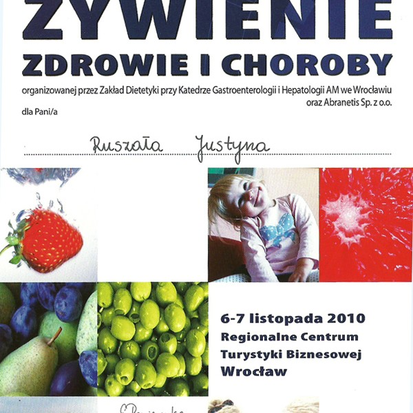 Certyfikat udziału w Konferencji Naukowej - Żywienie Zdrowie i Choroby