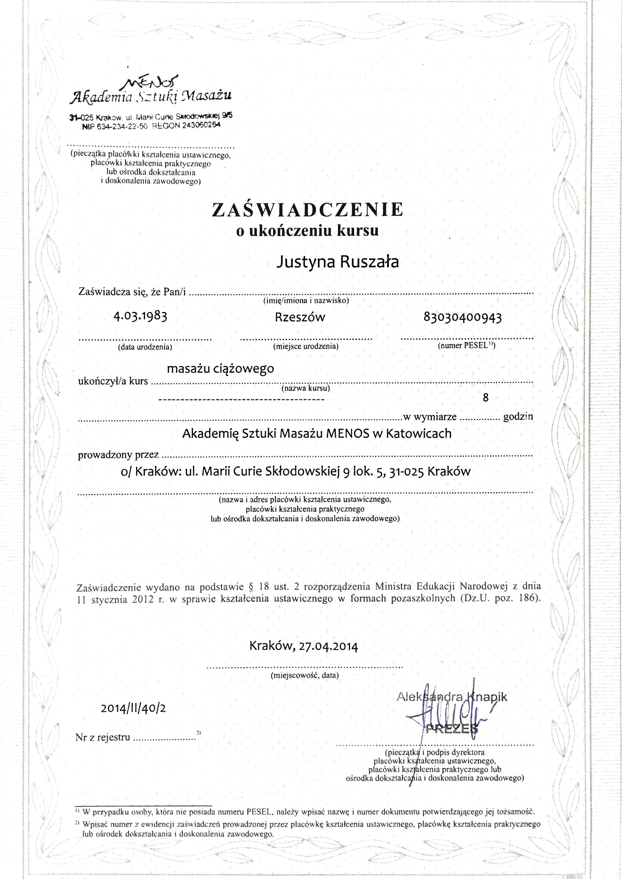 Dyplom ukończenia Masażu Ciążowego 2