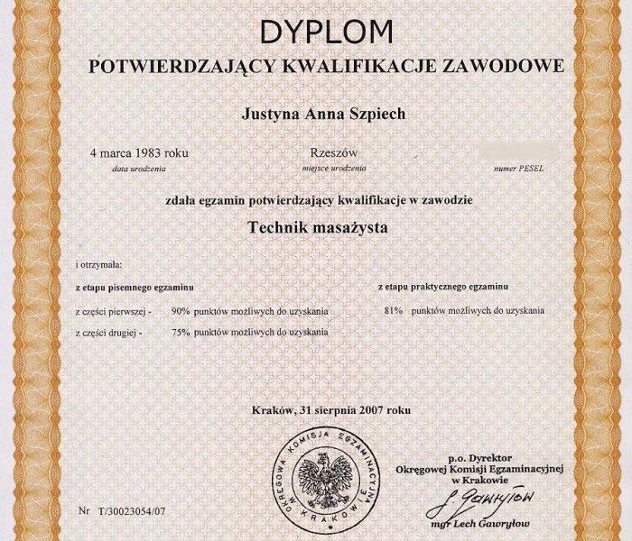 Dyplom Technik Masażysta