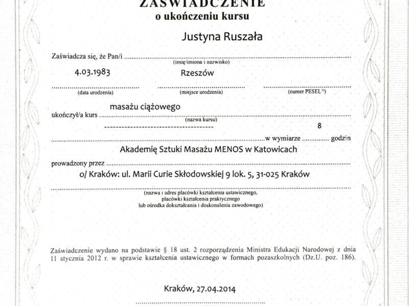 Dyplom ukończenia Masażu Ciążowego